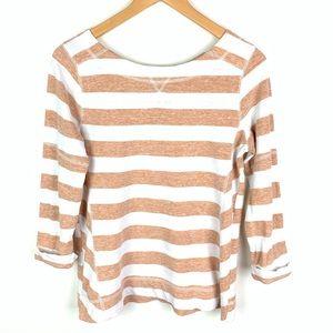 Lou & Grey Striped 3/4 Sleeve Shirt Zipper Back XS